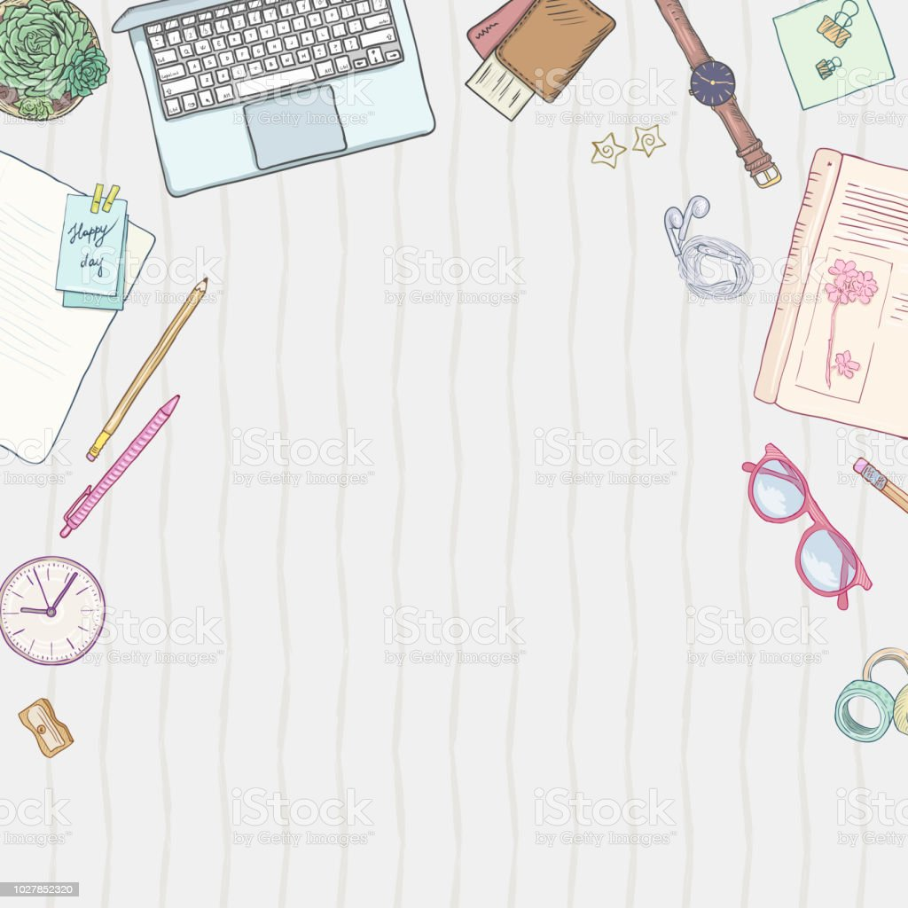 Stationery flat lay, books, background studying, creative lifestyle, planning Hand drawn objects set, illustration pastel colors vector art illustration