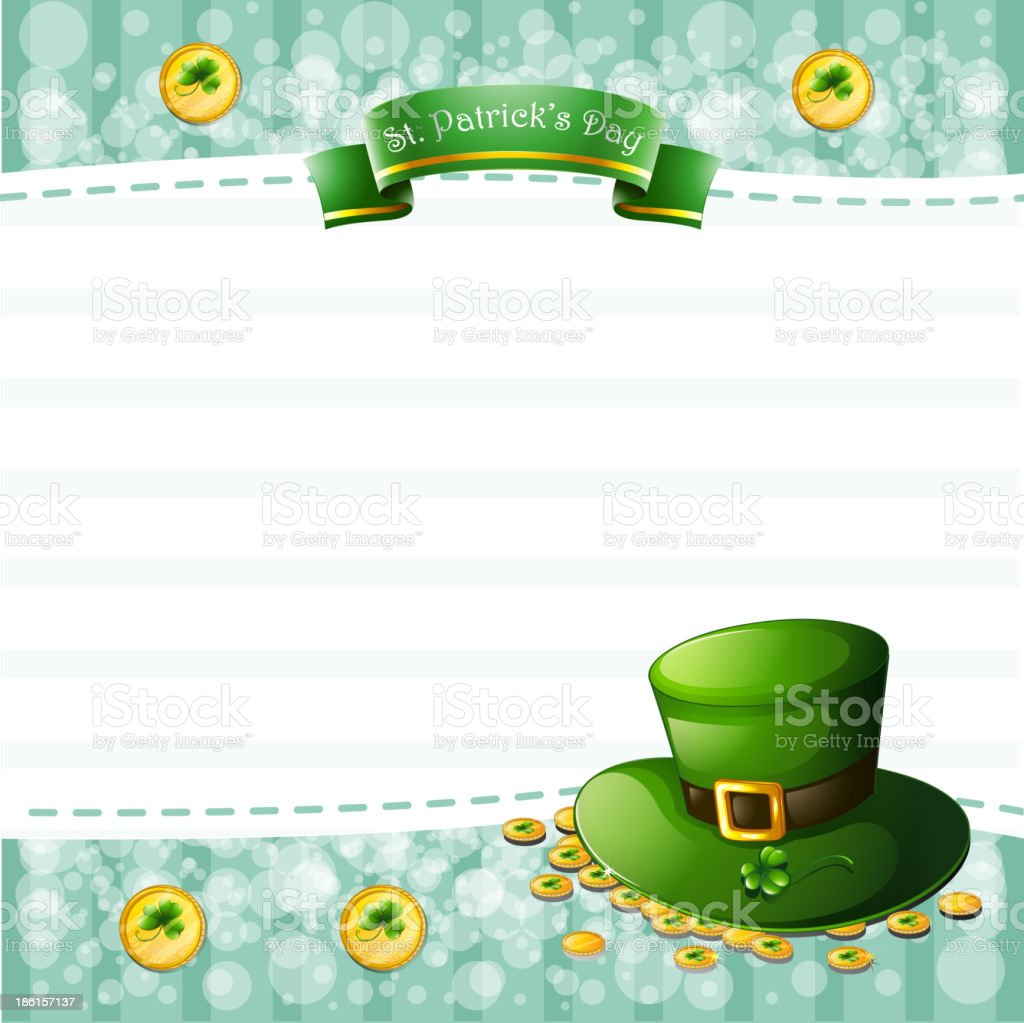 stationery for St. Patrick's Day with a hat and coins royalty-free stock vector art