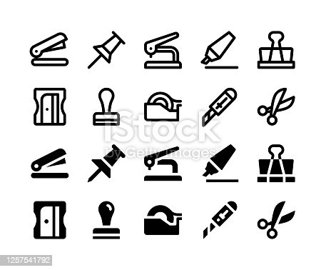 istock Stationery Glyph and Line Icons 1257541792