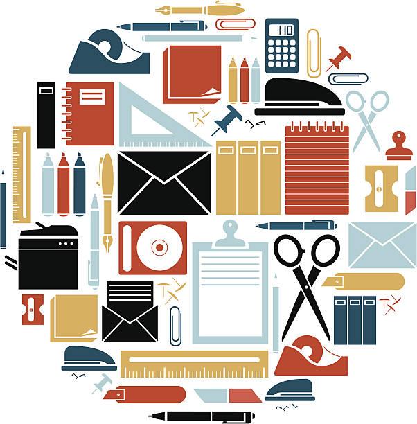 stationery icon set - office supply stock illustrations