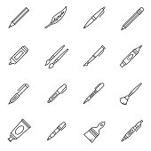 Stationery icons set. Editable stroke