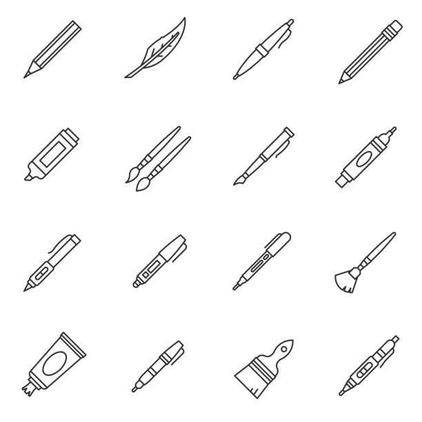 stationery icons set. editable stroke - ołówek stock illustrations