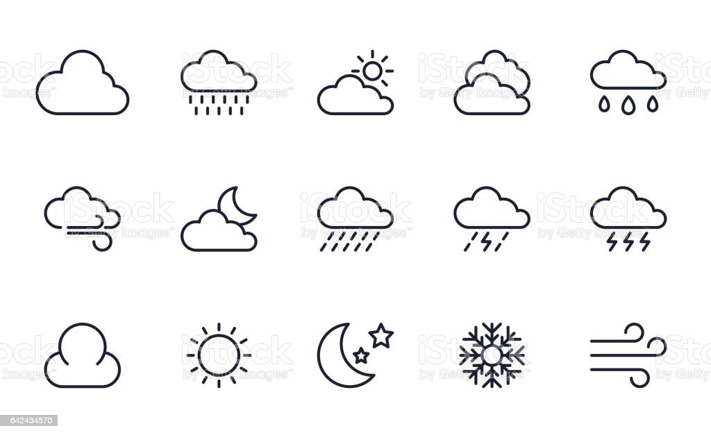 Briefpapier icons set - Royalty-free Bewolkt vectorkunst