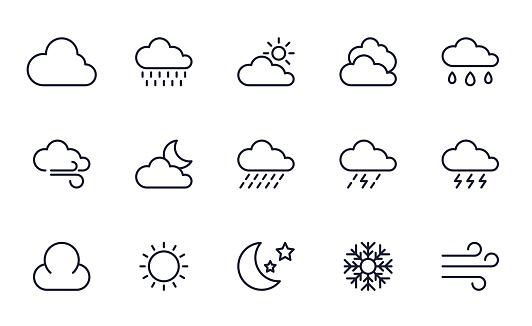 Briefpapier Icons Set Stockvectorkunst en meer beelden van Bewolkt