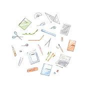 istock Stationery illustration set. 1222499608