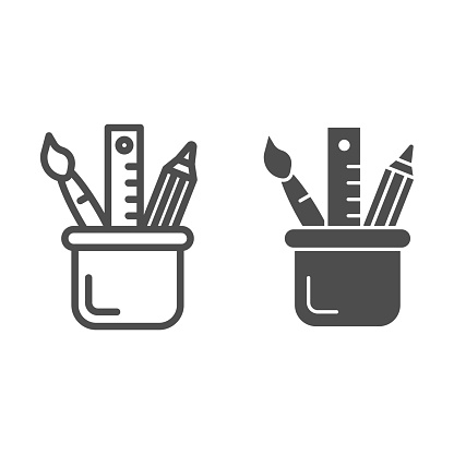 Stationery line and glyph icon. Drawing tools in cup vector illustration isolated on white. Pencil, brush and ruler outline style design, designed for web and app. Eps 10.