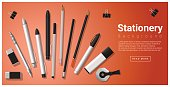 Stationery scene with set of office supplies background , vector , illustration