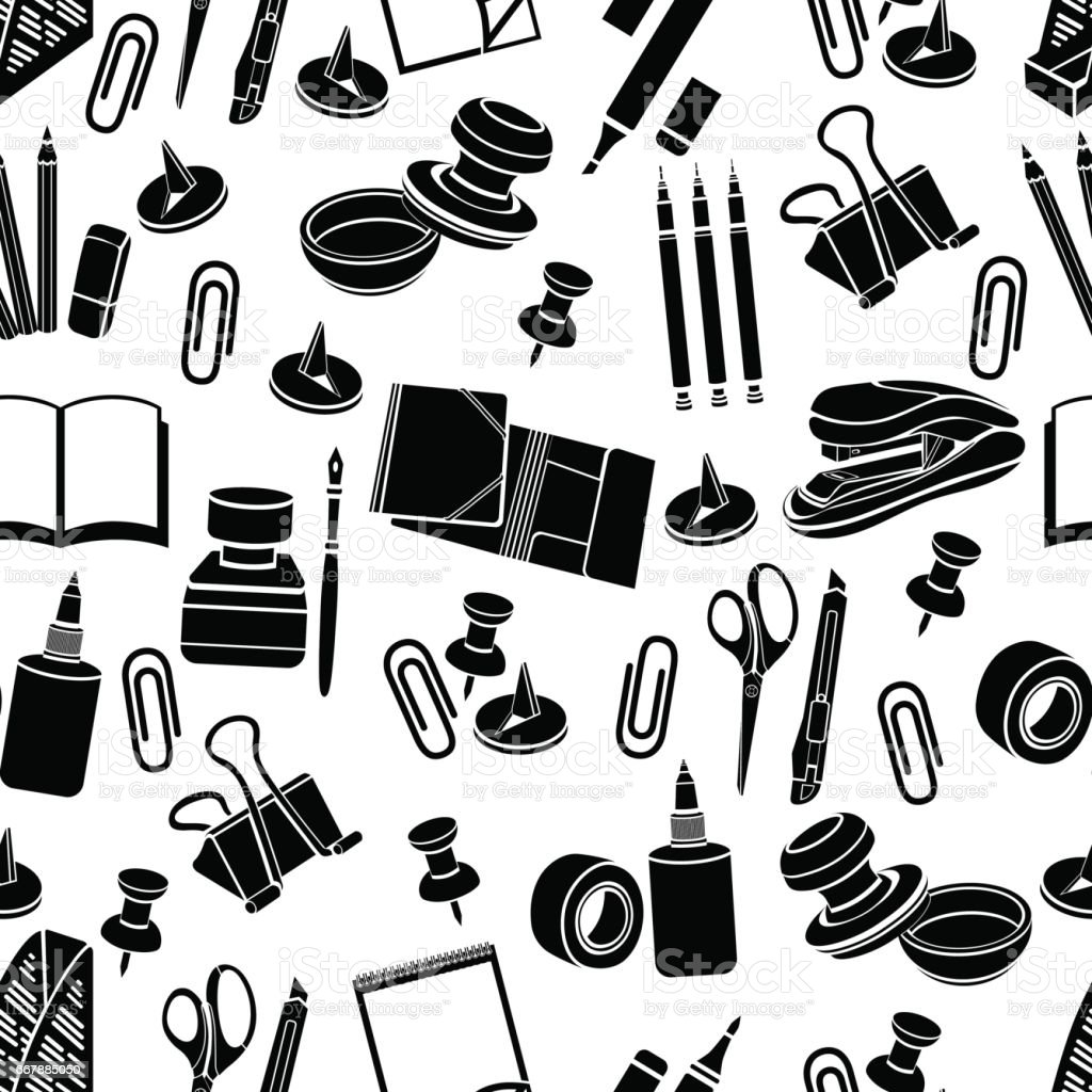 Stationery seamless pattern, vector black and white background, monochrome illustration. Black office tools on a white backdrop. For wallpaper design, wrappers, fabric
