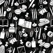 Stationery seamless pattern, vector black and white background, monochrome illustration. White office tools on a black backdrop. For wallpaper design, wrappers, fabric