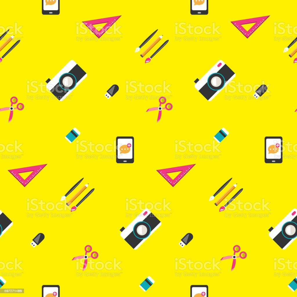 Stationery seamless pattern royalty-free stationery seamless pattern stock vector art & more images of abstract