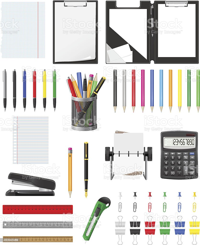 stationery set icons vector illustration royalty-free stock vector art