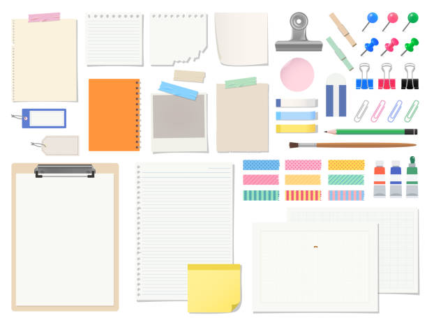 Stationery set of paper headings and frames It is a set of sticky memo tags and stationery. It's a stationery item and a paper memo that you use everyday, so it will be useful in various scenes! masking tape stock illustrations