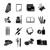 Stationery set of vector icons. Black flat office tools isolated on white background