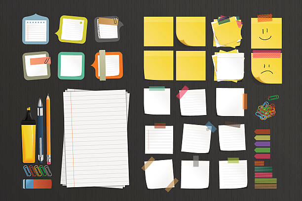 illustrazioni stock, clip art, cartoni animati e icone di tendenza di set cancelleria - post it