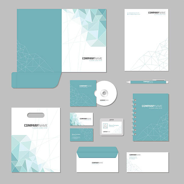 stationery template design. corporate identity business set. - stationery templates stock illustrations