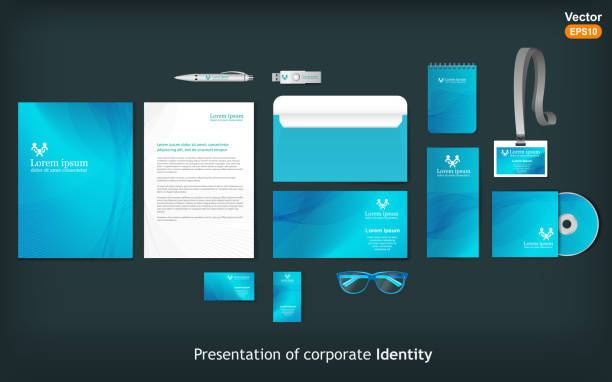 stationery template design with waves. - stationery templates stock illustrations