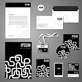 Stationery template design with white geometric elements on blac