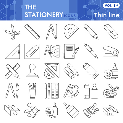 Stationery thin line icon set, School equipment symbols set collection or vector sketches. office tools signs set for computer web, linear pictogram style package isolated on white background, eps 10.