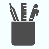 Stationery tools solid icon. Glass with pen, pencil and ruler vector illustration isolated on white. Pencil case glyph style design, designed for web and app. Eps 10