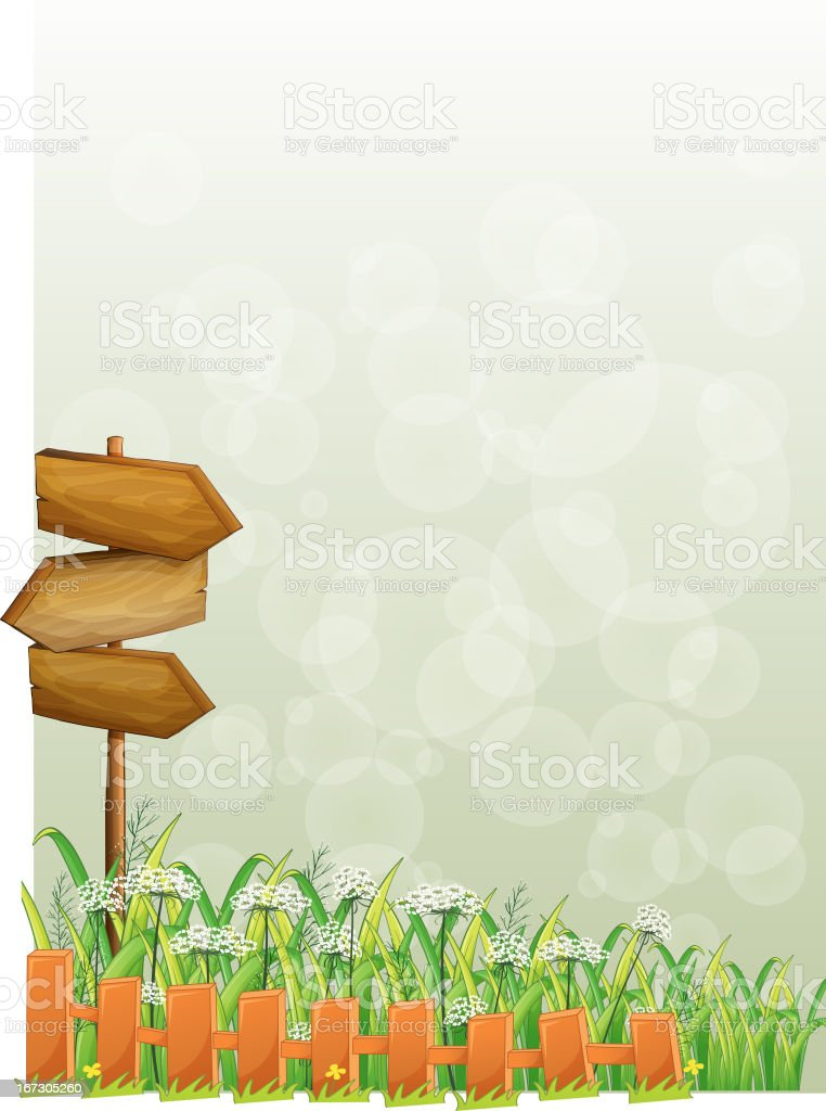 Stationery with wooden arrows and fence royalty-free stock vector art