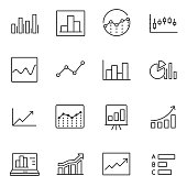 Statistic icons set. Line with Editable stroke