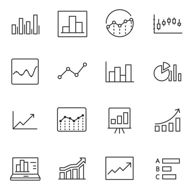 statistic icons set. line with editable stroke - диаграмма stock illustrations