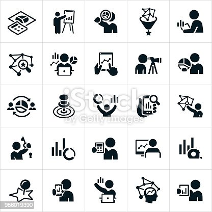 A set of statistician icons. The icons show statisticians, graphs, charts, statistics, analysis, comparison, pie charts, line graphs, data, bar charts, computers, technology and other related icons.