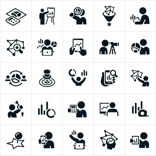 Statistician Icons A set of statistician icons. The icons show statisticians, graphs, charts, statistics, analysis, comparison, pie charts, line graphs, data, bar charts, computers, technology and other related icons. scrutiny stock illustrations
