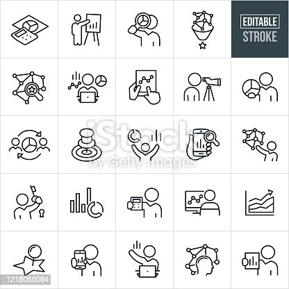 A set of statistician icons that include editable strokes or outlines using the EPS vector file. The icons include statisticians, calculator with pie chart, data presentation offered by businessman, business person with magnifying glass and pie chart, data collection, business person at computer with data graphs and statistics, tablet PC with line graph, person looking though spotting scope, business person holding pie chart, business person analyzing data, big data, business person with key to lock, businessman holding calculator and other statistics related icons.