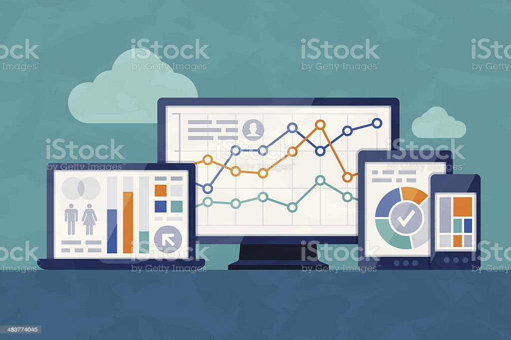 Statistics and Analysis Statistics and analysis digital concept. EPS 10 file. Transparency effects used on highlight elements. Analyzing stock vector