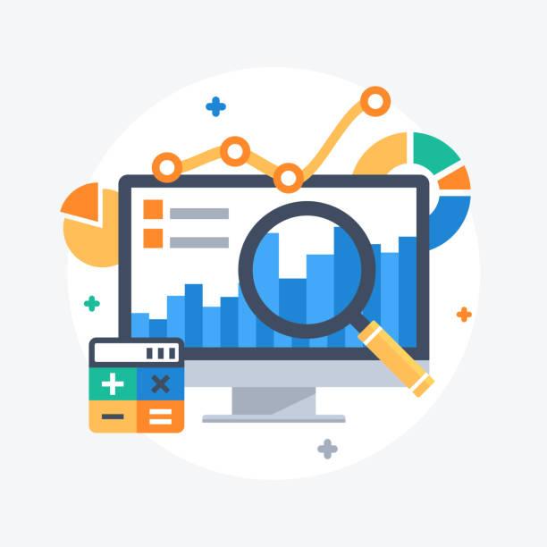 statistik und datenanalyse - geschäftsstrategie stock-grafiken, -clipart, -cartoons und -symbole