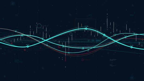 statistics big data analytics indicators, business strategy digital graph indicating progress - dane finansowe stock illustrations