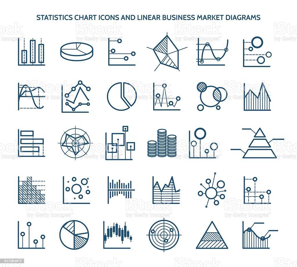 Statistics chart icons vector art illustration