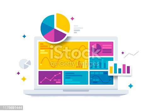 Statistics data and analytics data analysis software laptop with bar graphs, pie charts and data information.