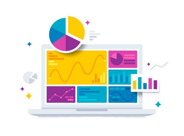ilustrações de stock, clip art, desenhos animados e ícones de statistics data and analytics software laptop application - computer