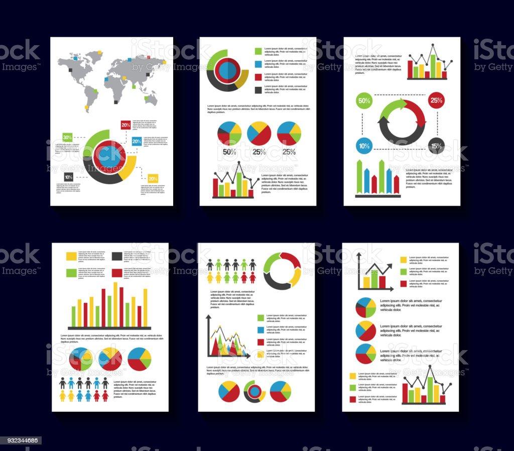 Statistik Daten Bericht Vorlage Stil Diagramme Und Graphen Stock ...