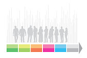 Group of business people in grey with colorful infographic arrow symbol