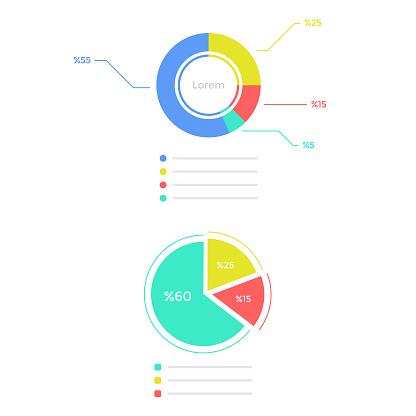 Statistics Graph Icon Set Flat Design. Infographic Elements Vector Design on White Background.