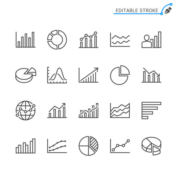 statistics line icons. editable stroke. pixel perfect. - диаграмма stock illustrations