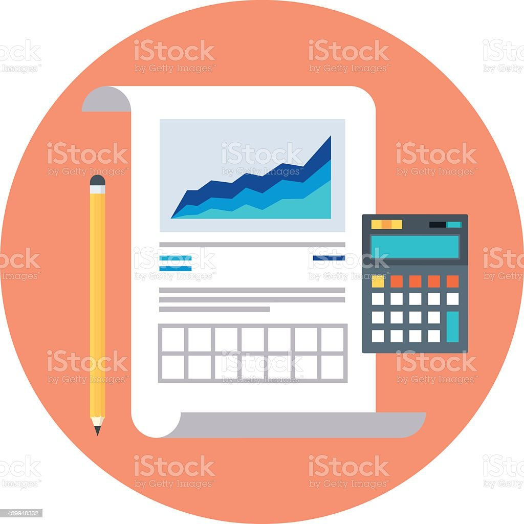statistics report theme flat style colorful vector icon