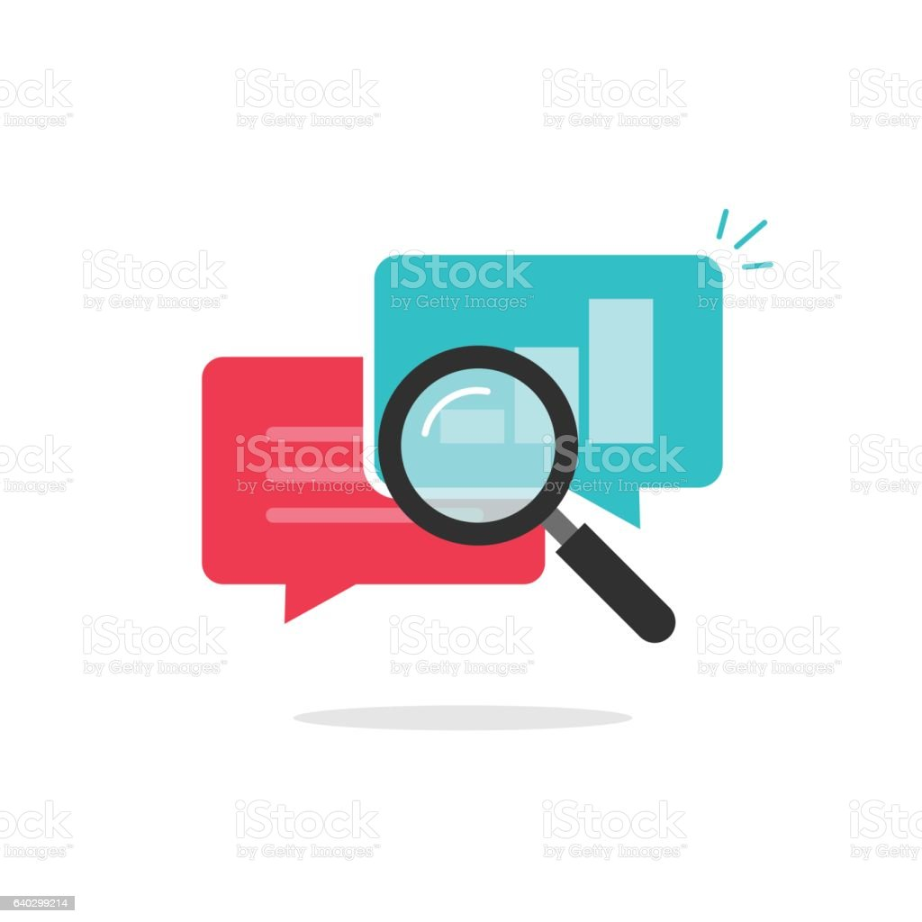 Statistics research icon vector, analysis data, analyzing chat information, explore vector art illustration
