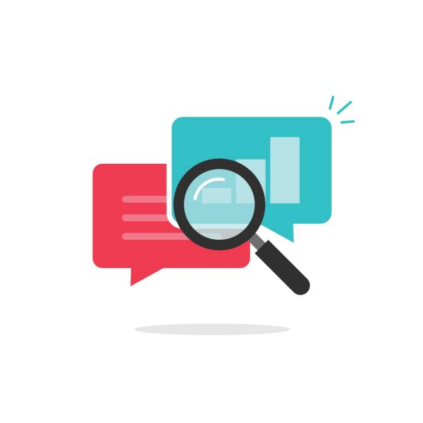 statistics research icon vector, analysis data, analyzing chat information, explore - research stock illustrations