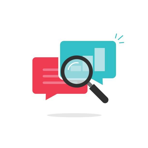 ilustraciones, imágenes clip art, dibujos animados e iconos de stock de statistics research icon vector, analysis data, analyzing chat information, explore - research