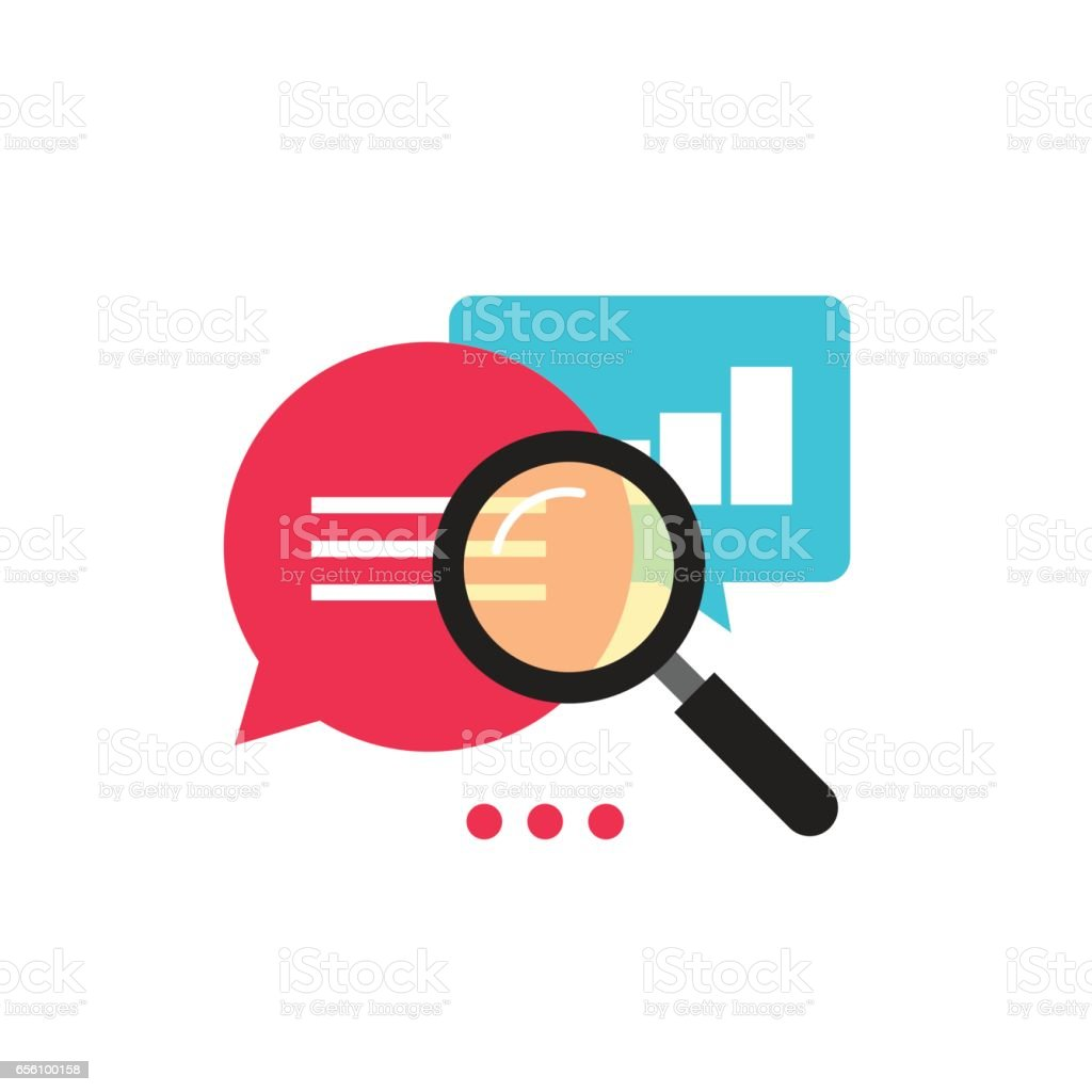 Statistics research icon vector, flat style analysis data with growth graph vector art illustration