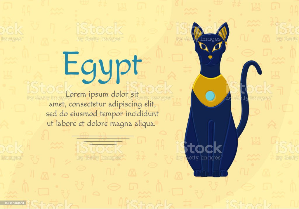 Statue Cat Egypt Goddess Bastet Egyptian Idols Stock Vector Art
