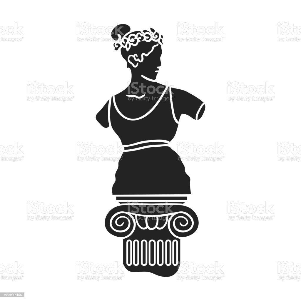 Statue icon in black style isolated on white background. Museum symbol stock vector illustration. vector art illustration