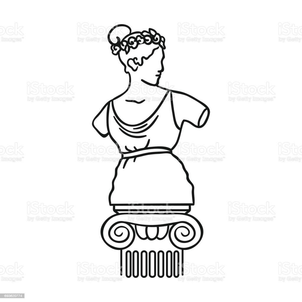 Statue icon in outline style isolated on white background. Museum symbol stock vector illustration. vector art illustration