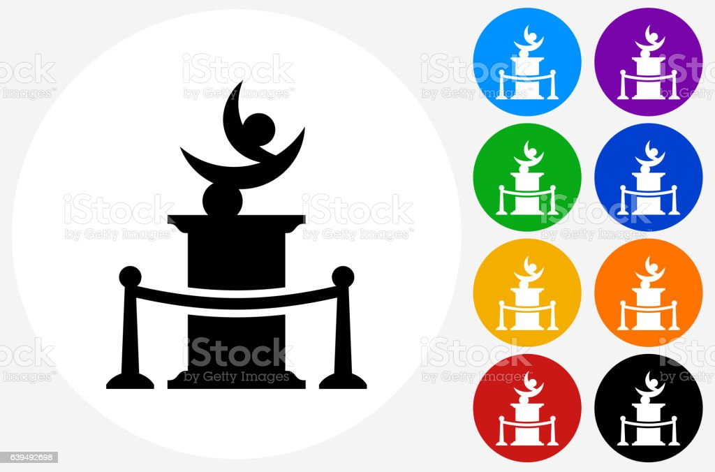 Statue Icon on Flat Color Circle Buttons vector art illustration