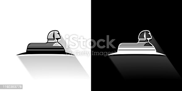 istock Statue of Giza  Black and White Icon with Long Shadow 1192353778