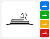Statue of Giza Icon. This 100% royalty free vector illustration features the main icon pictured in black inside a white square. The alternative color options in blue, green, yellow and red are on the right of the icon and are arranged in a vertical column.